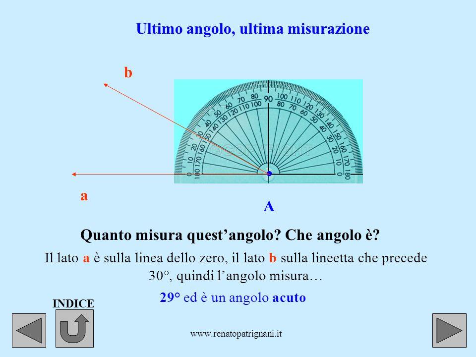 www.renatopatrignani.it. A a b Il foro del goniometro sempre sul vertice dellangolo. La linea dello zero questa volta è sul lato a.a. Altro angolo, al