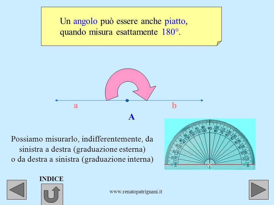 www.renatopatrignani.it Ecco un altro angolo retto. A a b Per misurarlo serviamoci della graduazione esterna del goniometro, da sinistra a destra. IND