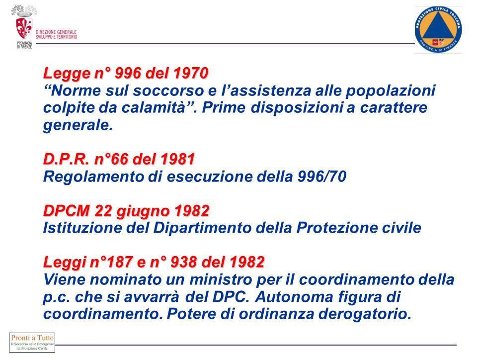 Legge n° 996 del 1970 D.P.R. n°66 del 1981 DPCM 22 giugno 1982 Leggi n°187 e n° 938 del 1982 Legge n° 996 del 1970 Norme sul soccorso e lassistenza al