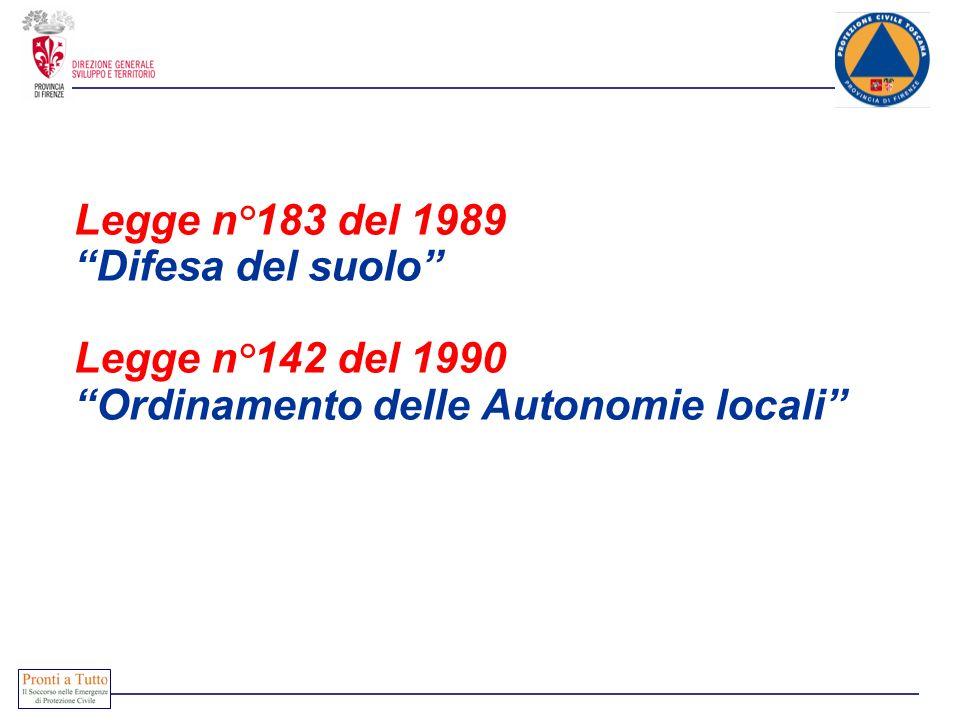 Legge n°183 del 1989 Difesa del suolo Legge n°142 del 1990 Ordinamento delle Autonomie locali