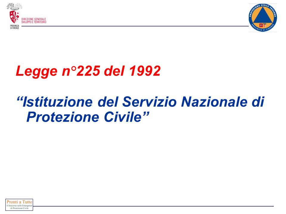 Legge n°225 del 1992 Istituzione del Servizio Nazionale di Protezione Civile