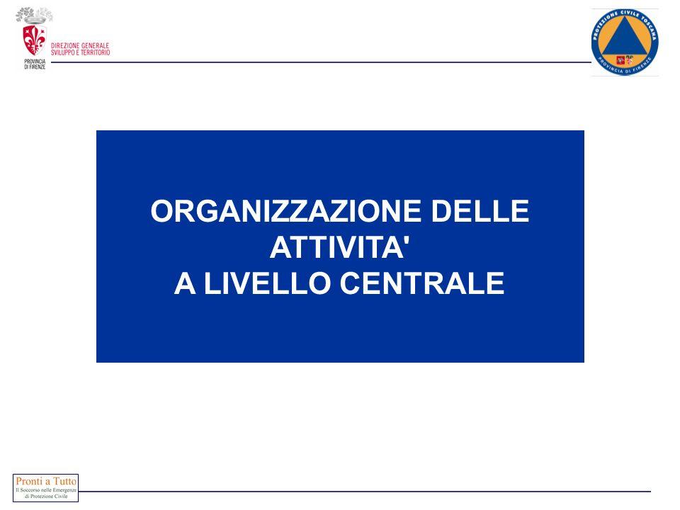 ORGANIZZAZIONE DELLE ATTIVITA' A LIVELLO CENTRALE