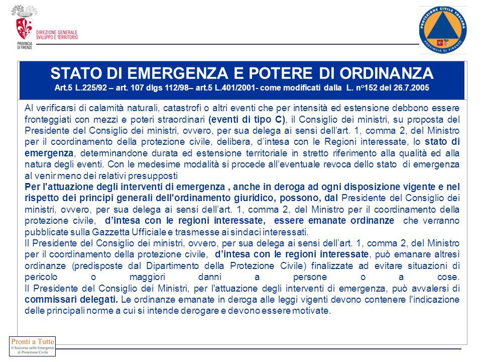 STATO DI EMERGENZA E POTERE DI ORDINANZA Art.5 L.225/92 – art. 107 dlgs 112/98– art.5 L.401/2001- come modificati dalla L. n°152 del 26.7.2005 Al veri