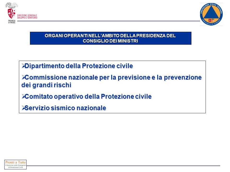 ORGANI OPERANTI NELLAMBITO DELLA PRESIDENZA DEL CONSIGLIO DEI MINISTRI Dipartimento della Protezione civile Dipartimento della Protezione civile Commi