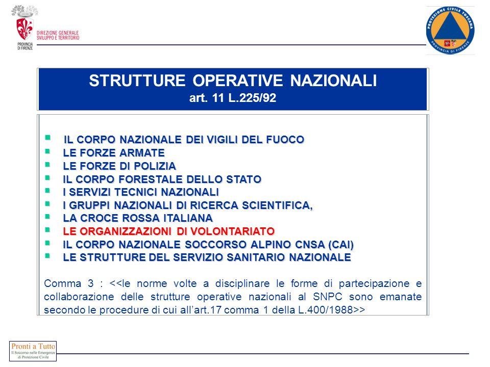 STRUTTURE OPERATIVE NAZIONALI art. 11 L.225/92 IL CORPO NAZIONALE DEI VIGILI DEL FUOCO IL CORPO NAZIONALE DEI VIGILI DEL FUOCO LE FORZE ARMATE LE FORZ
