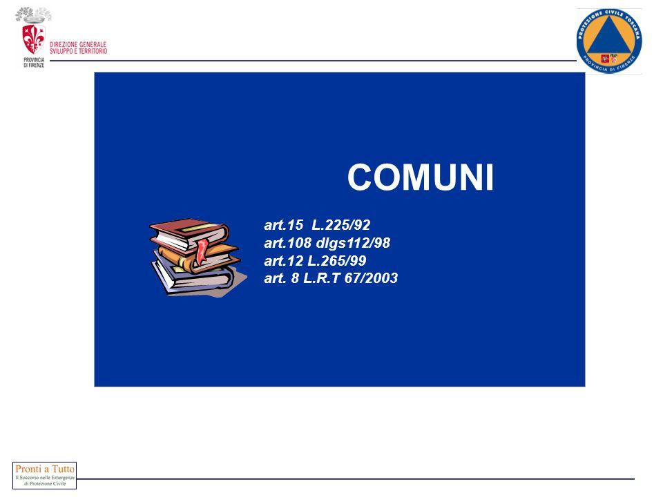 COMUNI art.15 L.225/92 art.108 dlgs112/98 art.12 L.265/99 art. 8 L.R.T 67/2003