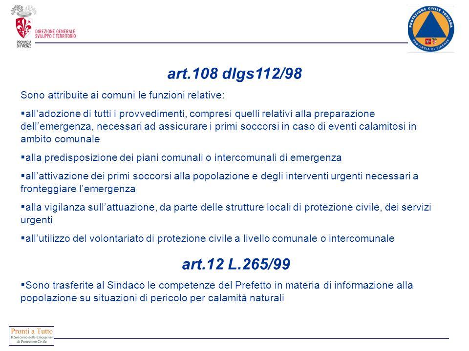 art.108 dlgs112/98 Sono attribuite ai comuni le funzioni relative: alladozione di tutti i provvedimenti, compresi quelli relativi alla preparazione de