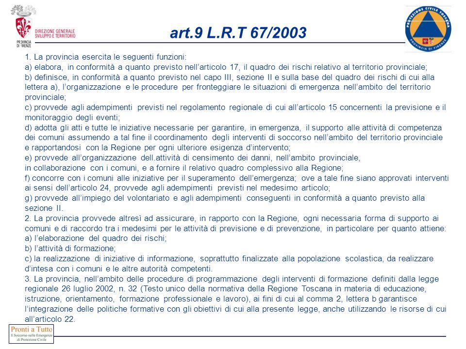art.9 L.R.T 67/2003 1. La provincia esercita le seguenti funzioni: a) elabora, in conformità a quanto previsto nellarticolo 17, il quadro dei rischi r