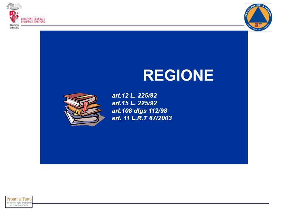 REGIONE art.12 L. 225/92 art.15 L. 225/92 art.108 dlgs 112/98 art. 11 L.R.T 67/2003