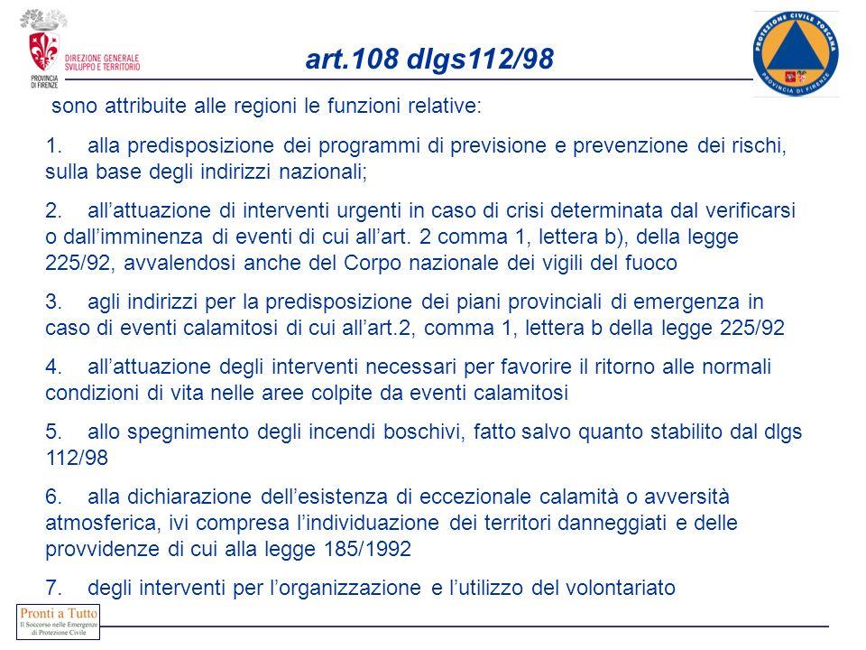 art.108 dlgs112/98 sono attribuite alle regioni le funzioni relative: 1. alla predisposizione dei programmi di previsione e prevenzione dei rischi, su
