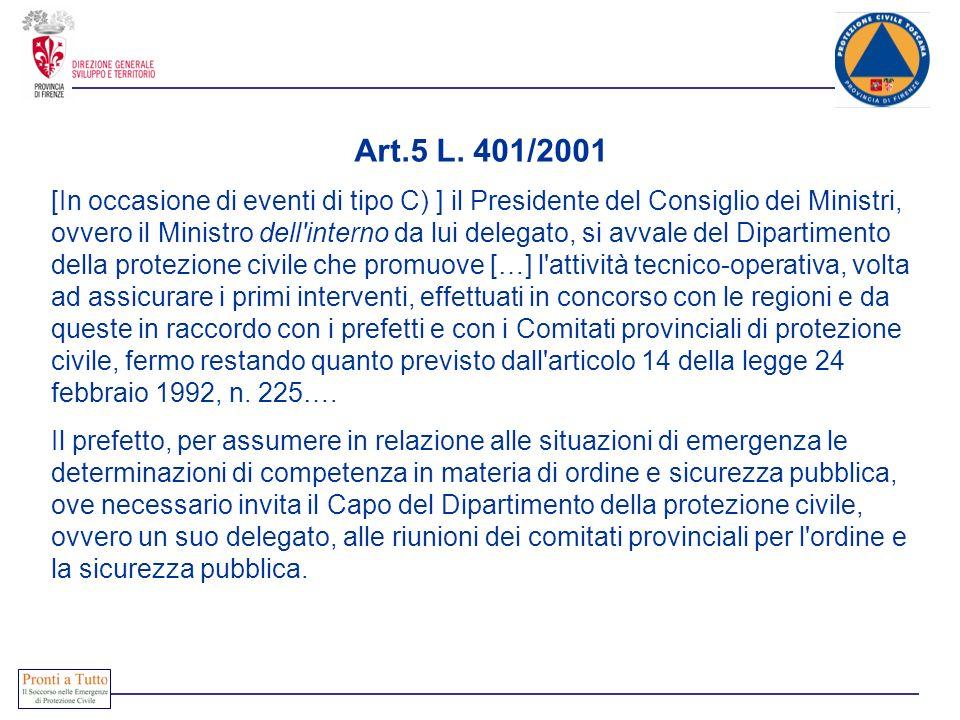 Art.5 L. 401/2001 [In occasione di eventi di tipo C) ] il Presidente del Consiglio dei Ministri, ovvero il Ministro dell'interno da lui delegato, si a