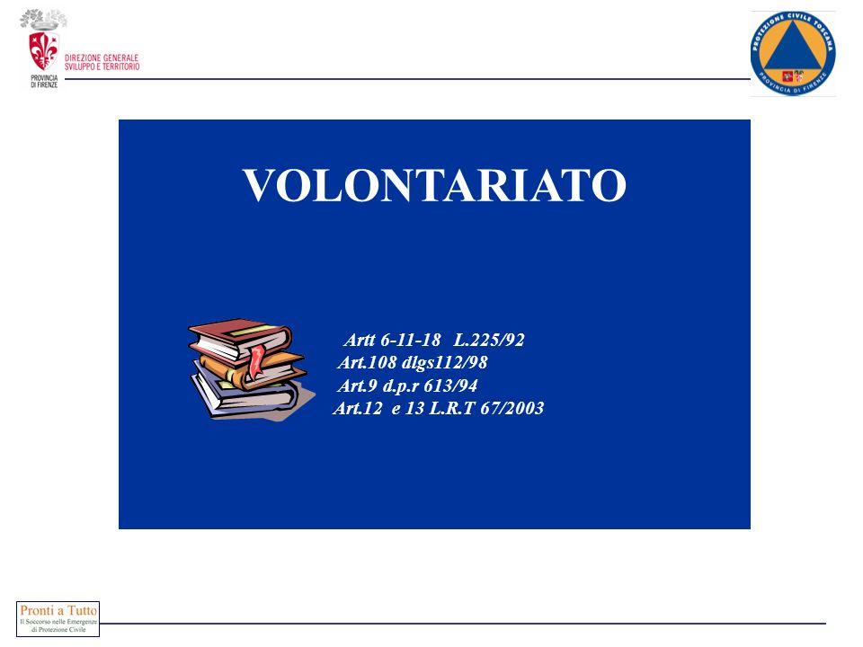 VOLONTARIATO Artt 6-11-18 L.225/92 Art.108 dlgs112/98 Art.9 d.p.r 613/94 Art.12 e 13 L.R.T 67/2003