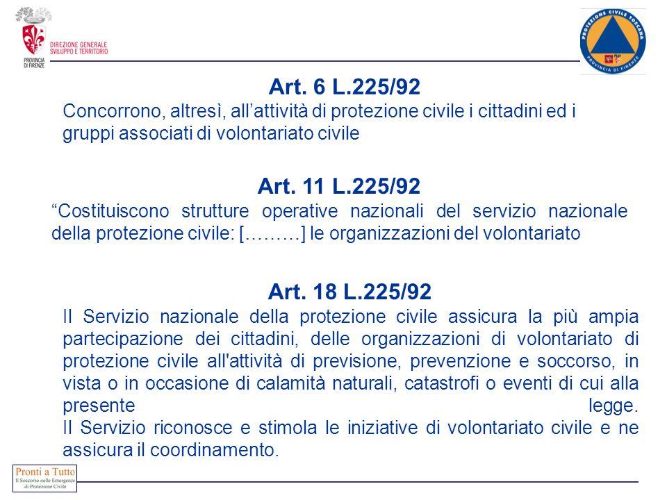 Art. 6 L.225/92 Concorrono, altresì, allattività di protezione civile i cittadini ed i gruppi associati di volontariato civile Art. 11 L.225/92 Costit