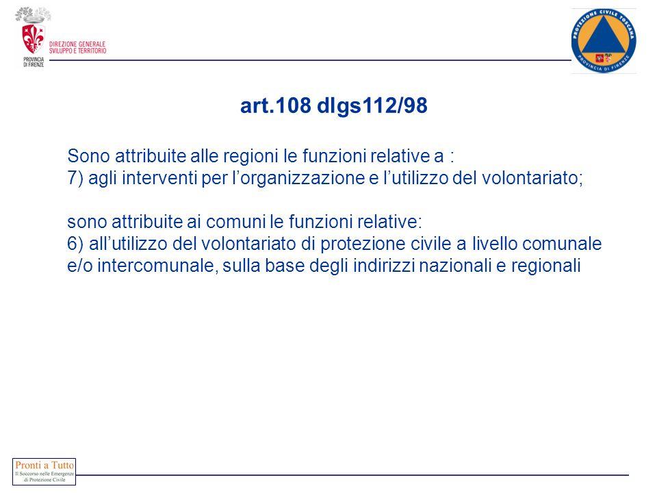 art.108 dlgs112/98 Sono attribuite alle regioni le funzioni relative a : 7) agli interventi per lorganizzazione e lutilizzo del volontariato; sono att