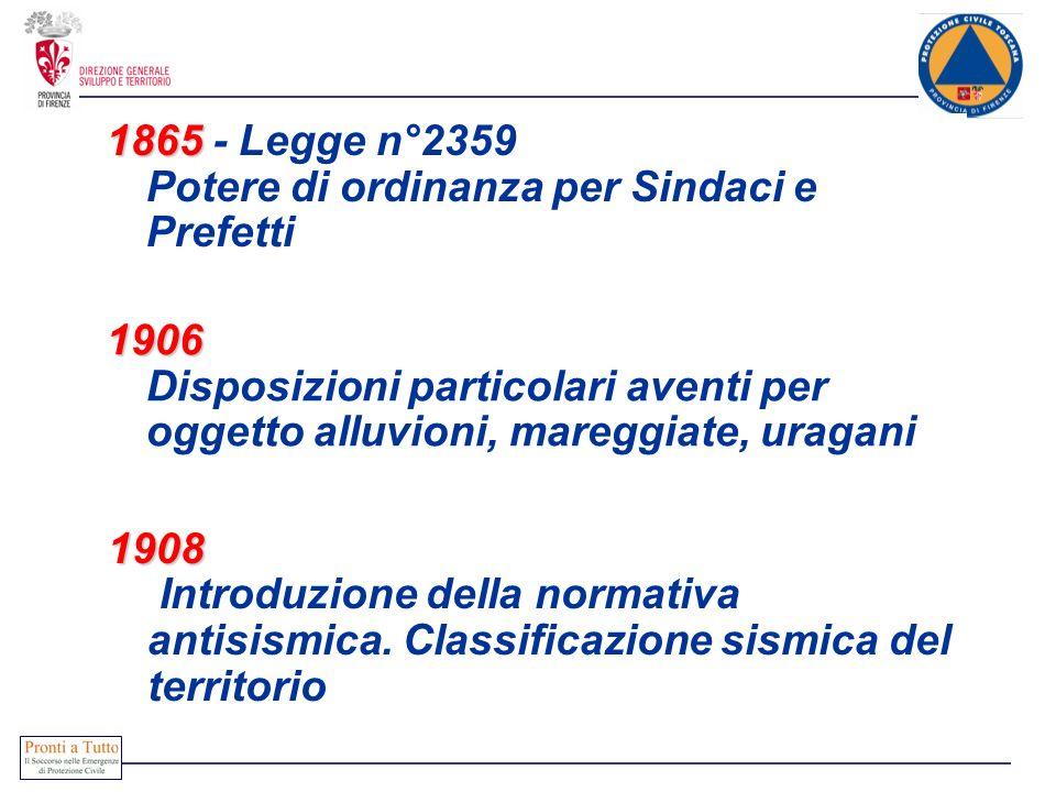 1865 1865 - Legge n°2359 Potere di ordinanza per Sindaci e Prefetti 1908 1908 Introduzione della normativa antisismica. Classificazione sismica del te
