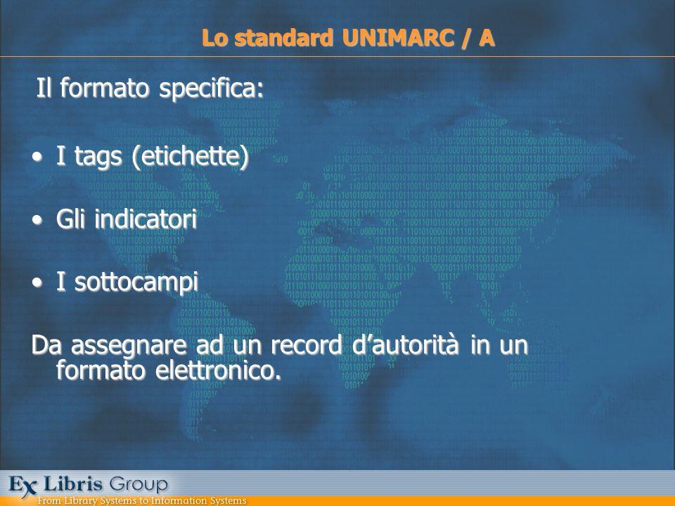 I tags (etichette)I tags (etichette) Gli indicatoriGli indicatori I sottocampiI sottocampi Da assegnare ad un record dautorità in un formato elettroni