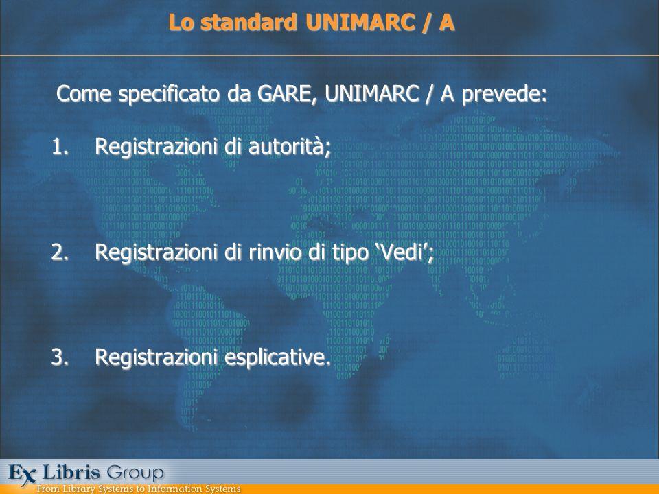 Come specificato da GARE, UNIMARC / A prevede: 1.Registrazioni di autorità; 2.Registrazioni di rinvio di tipo Vedi; 3.Registrazioni esplicative. Lo st