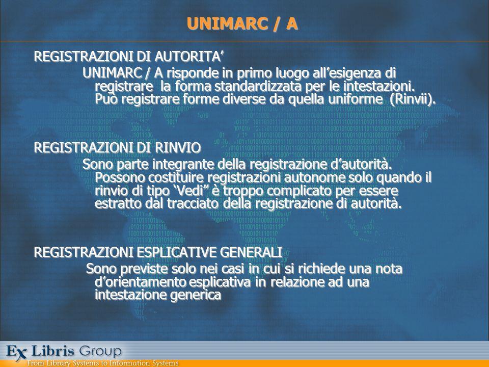 REGISTRAZIONI DI AUTORITA UNIMARC / A risponde in primo luogo allesigenza di registrare la forma standardizzata per le intestazioni. Può registrare fo