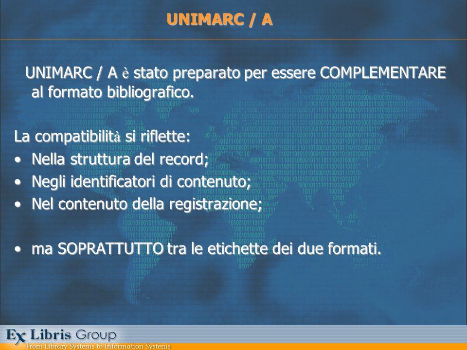 UNIMARC / A è stato preparato per essere COMPLEMENTARE al formato bibliografico. La compatibilit à si riflette: Nella struttura del record;Nella strut