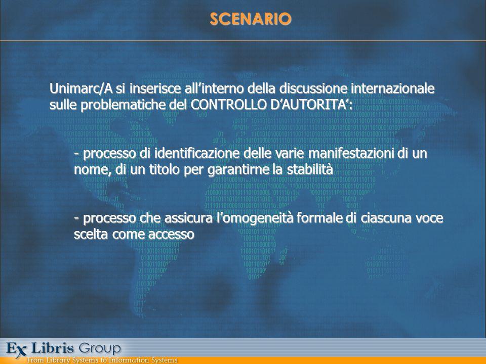 SCENARIO Unimarc/A si inserisce allinterno della discussione internazionale sulle problematiche del CONTROLLO DAUTORITA: - processo di identificazione