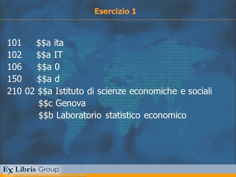 101 $$a ita 102 $$a IT 106 $$a 0 150 $$a d 210 02 $$a Istituto di scienze economiche e sociali $$c Genova $$b Laboratorio statistico economico Eserciz
