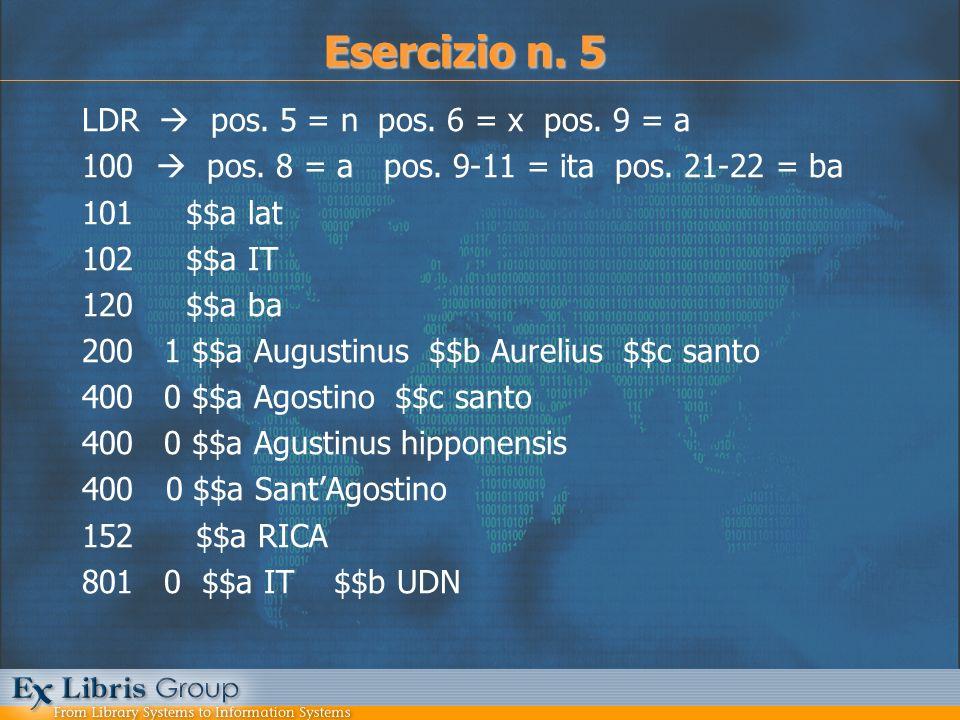 LDR pos. 5 = n pos. 6 = x pos. 9 = a 100 pos. 8 = a pos. 9-11 = ita pos. 21-22 = ba 101 $$a lat 102 $$a IT 120 $$a ba 200 1 $$a Augustinus $$b Aureliu