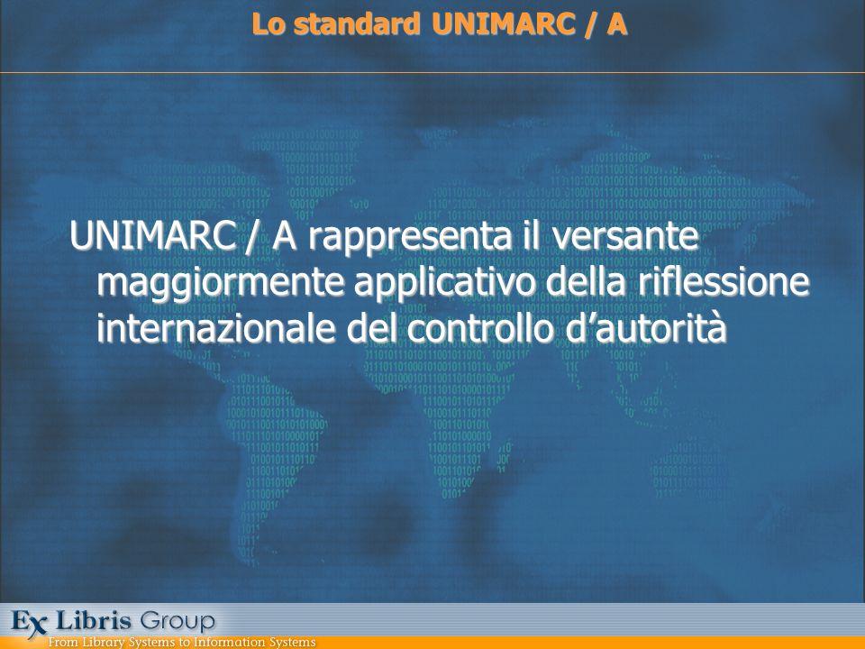 Tabella di corrispondenza tra UNIMARC / A e UNIMARC / B UNIMARC / A e UNIMARC / B Campi intestazione UNIMARC / ACampi intestazioni UNIMARC / B 200 – autore personale700, 701, 702, 600 210 – ente collettivo710, 711, 712, 601 215 – nome geografico710, 711, 712, 607 220 – nome di famiglia720, 721, 722, 602 230 – titolo uniforme500, 605 250 – nome comune usato come soggetto 606