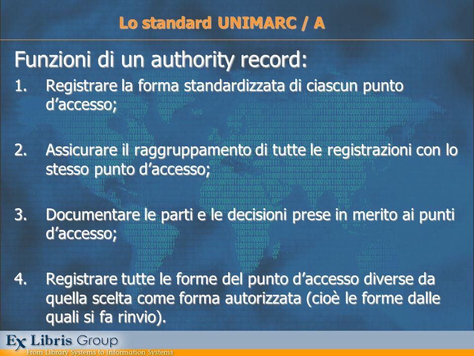Funzioni di un authority record: 1.Registrare la forma standardizzata di ciascun punto daccesso; 2.Assicurare il raggruppamento di tutte le registrazi