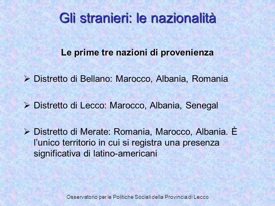 Osservatorio per le Politiche Sociali della Provincia di Lecco Gli stranieri: le nazionalità Le prime tre nazioni di provenienza Distretto di Bellano: