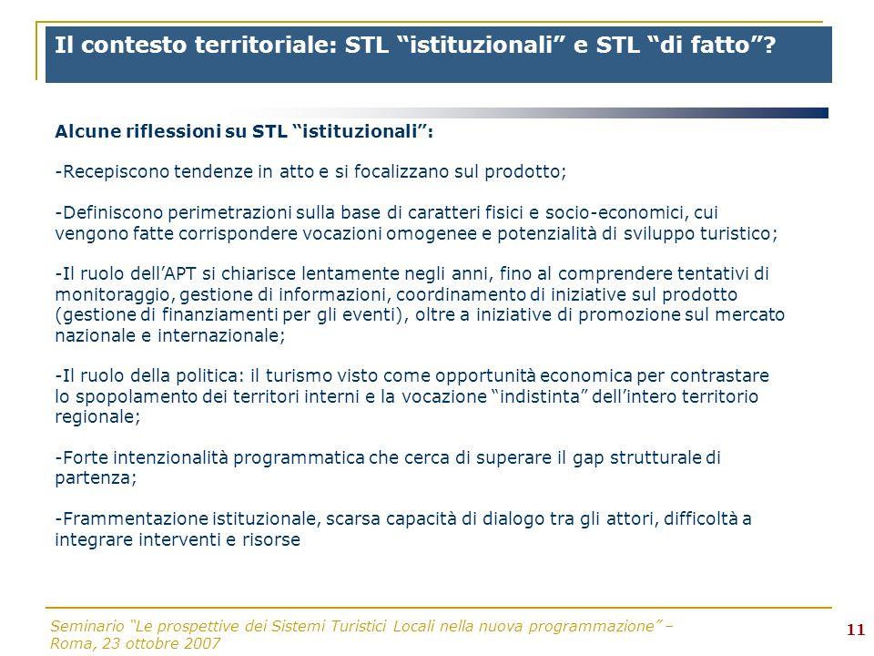 Seminario Le prospettive dei Sistemi Turistici Locali nella nuova programmazione – Roma, 23 ottobre 2007 11 Il contesto territoriale: STL istituzionali e STL di fatto.