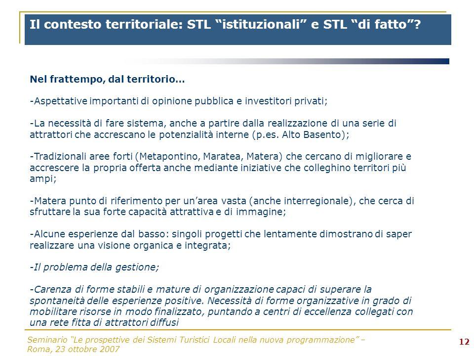 Seminario Le prospettive dei Sistemi Turistici Locali nella nuova programmazione – Roma, 23 ottobre 2007 12 Il contesto territoriale: STL istituzionali e STL di fatto.