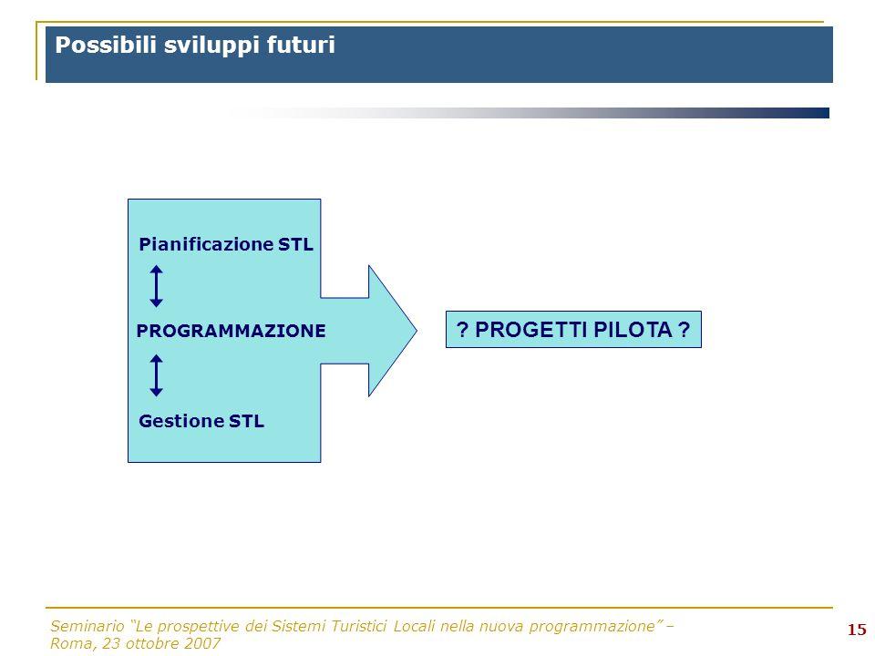 Seminario Le prospettive dei Sistemi Turistici Locali nella nuova programmazione – Roma, 23 ottobre 2007 15 Possibili sviluppi futuri ? PROGETTI PILOT