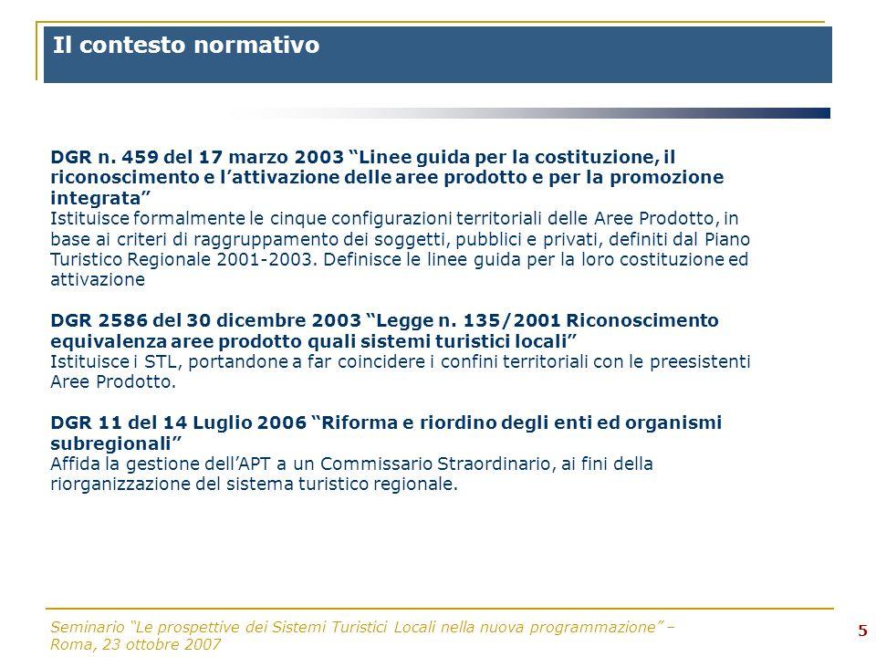 Seminario Le prospettive dei Sistemi Turistici Locali nella nuova programmazione – Roma, 23 ottobre 2007 5 DGR n.