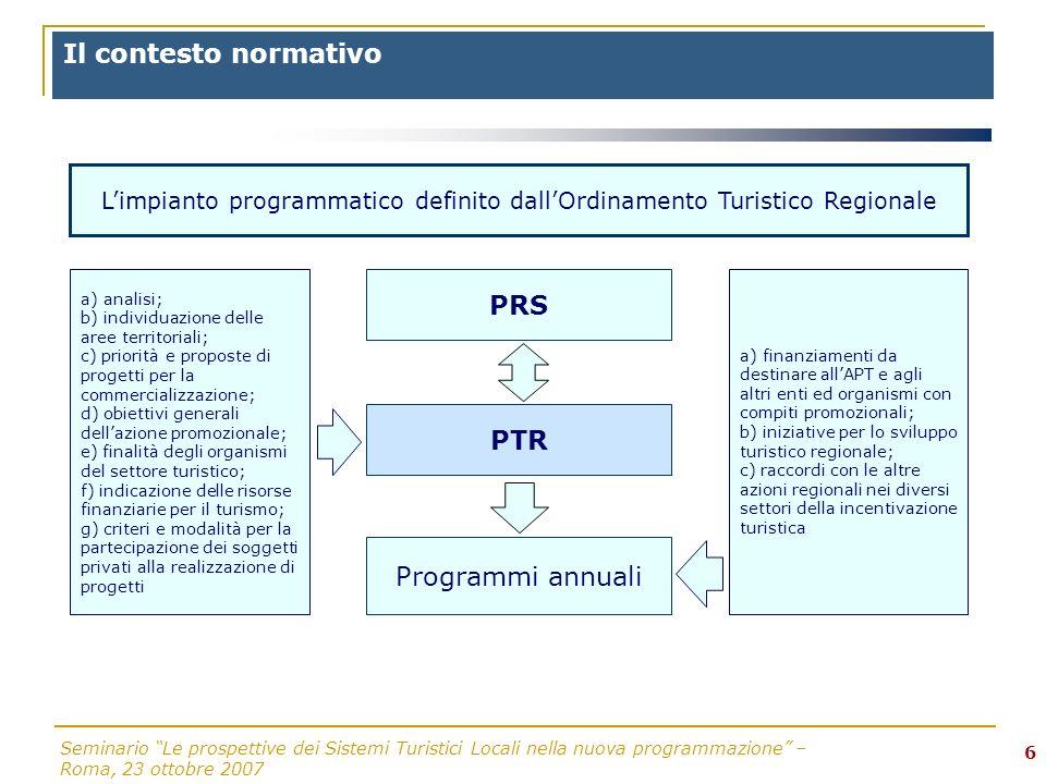 Seminario Le prospettive dei Sistemi Turistici Locali nella nuova programmazione – Roma, 23 ottobre 2007 6 a) analisi; b) individuazione delle aree te