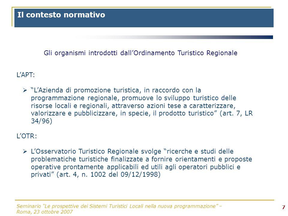 Seminario Le prospettive dei Sistemi Turistici Locali nella nuova programmazione – Roma, 23 ottobre 2007 7 LAPT: LAzienda di promozione turistica, in