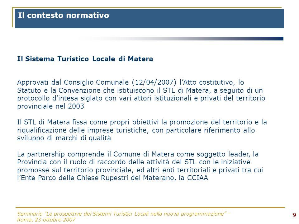 Seminario Le prospettive dei Sistemi Turistici Locali nella nuova programmazione – Roma, 23 ottobre 2007 10..Il contesto territoriale: STL istituzionali e STL di fatto?