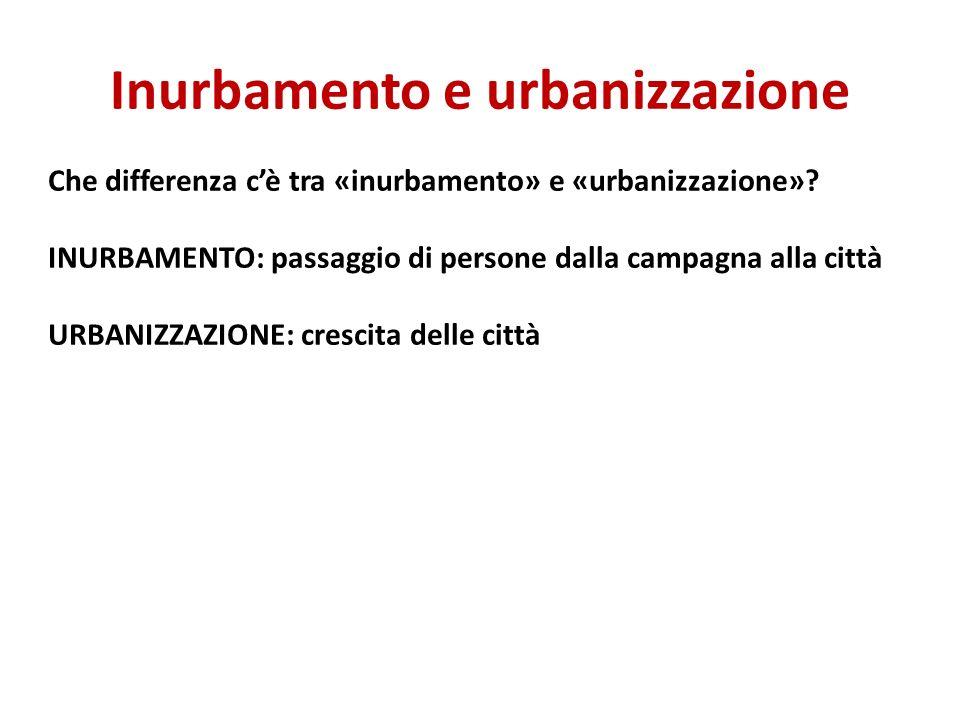Inurbamento e urbanizzazione Che differenza cè tra «inurbamento» e «urbanizzazione»? INURBAMENTO: passaggio di persone dalla campagna alla città URBAN