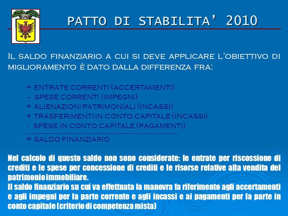 PATTO DI STABILITA 2010 Obiettivo per la Provincia di Ravenna: Il saldo finanziario di competenza mista dellesercizio 2007 deve essere migliorato nel 2010 dell80% per un importo pari a 10.164.000 di euro.