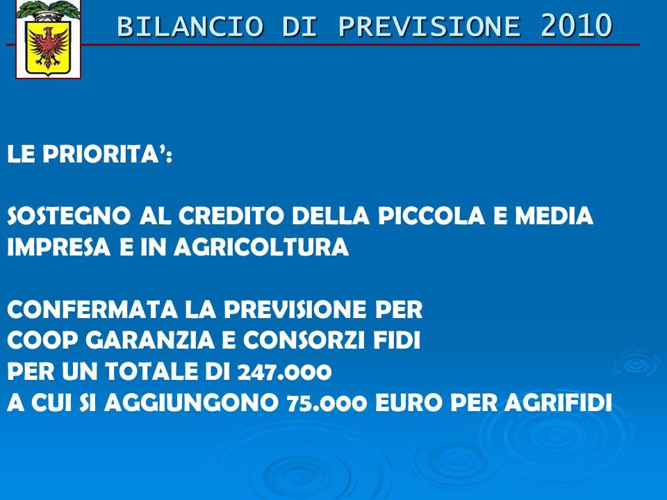 BILANCIO DI PREVISIONE 2010 LE PRIORITA: SOSTEGNO AL CREDITO DELLA PICCOLA E MEDIA IMPRESA E IN AGRICOLTURA CONFERMATA LA PREVISIONE PER COOP GARANZIA E CONSORZI FIDI PER UN TOTALE DI 247.000 A CUI SI AGGIUNGONO 75.000 EURO PER AGRIFIDI