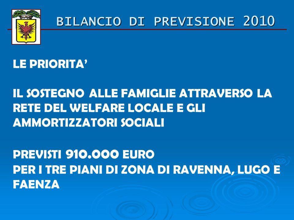 BILANCIO DI PREVISIONE 2010 LE PRIORITA: LA REALIZZAZIONE DEGLI INVESTIMENTI PREVISTI PER 32.000.000 DI EURO PER REALIZZARE LE OPERE PREVISTE E PER AI