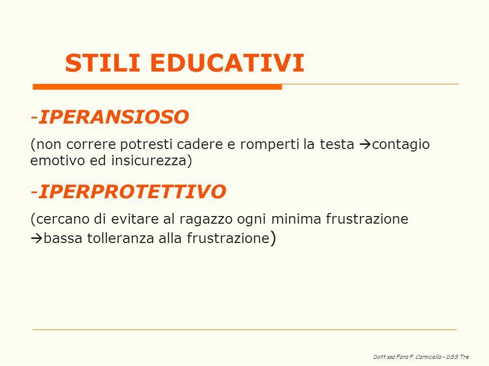 Dott.ssa Fara F. Carnicella – DSS Tre -IPERANSIOSO (non correre potresti cadere e romperti la testa contagio emotivo ed insicurezza) -IPERPROTETTIVO (