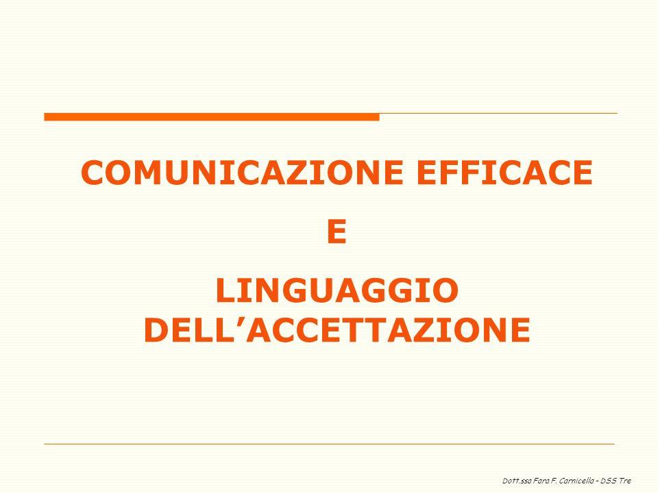 Dott.ssa Fara F. Carnicella – DSS Tre COMUNICAZIONE EFFICACE E LINGUAGGIO DELLACCETTAZIONE