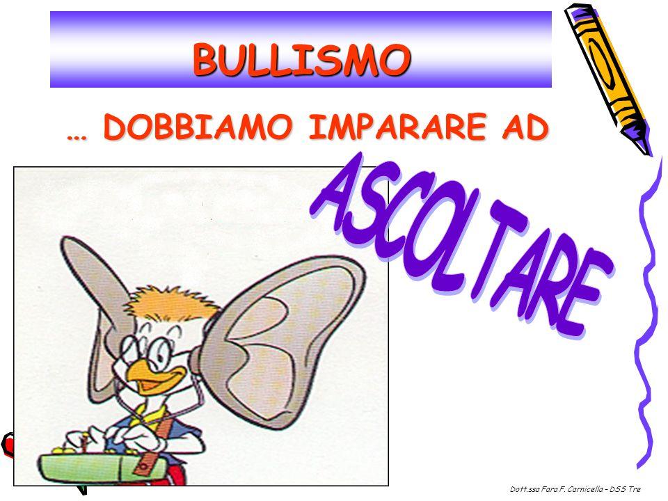 BULLISMO … DOBBIAMO IMPARARE AD Dott.ssa Fara F. Carnicella – DSS Tre