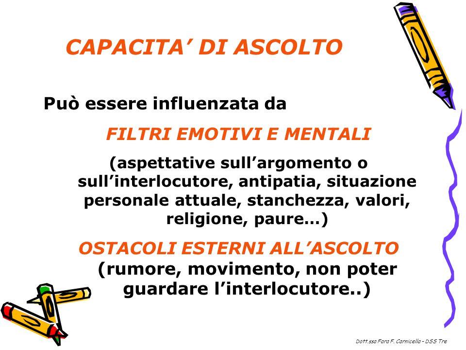 Può essere influenzata da FILTRI EMOTIVI E MENTALI (aspettative sullargomento o sullinterlocutore, antipatia, situazione personale attuale, stanchezza