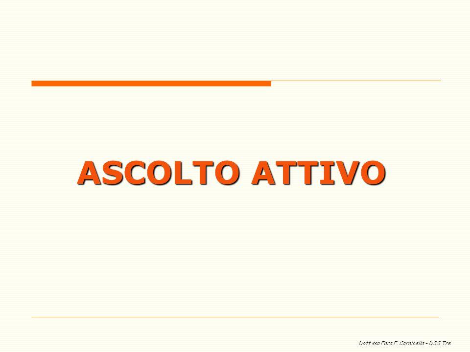 Dott.ssa Fara F. Carnicella – DSS Tre ASCOLTO ATTIVO