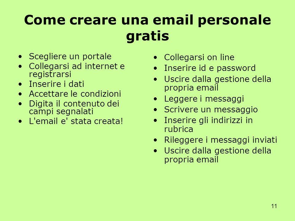 11 Come creare una email personale gratis Scegliere un portale Collegarsi ad internet e registrarsi Inserire i dati Accettare le condizioni Digita il