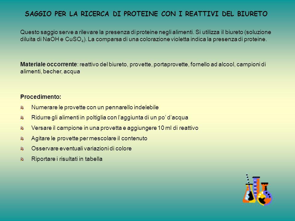 Tabella riassuntiva Campione di cibo Cambiamento colore con il reattivo di Benedict Interpretazione del risultato 1Patata SICONTIENE ZUCCHERI 2Cipolla
