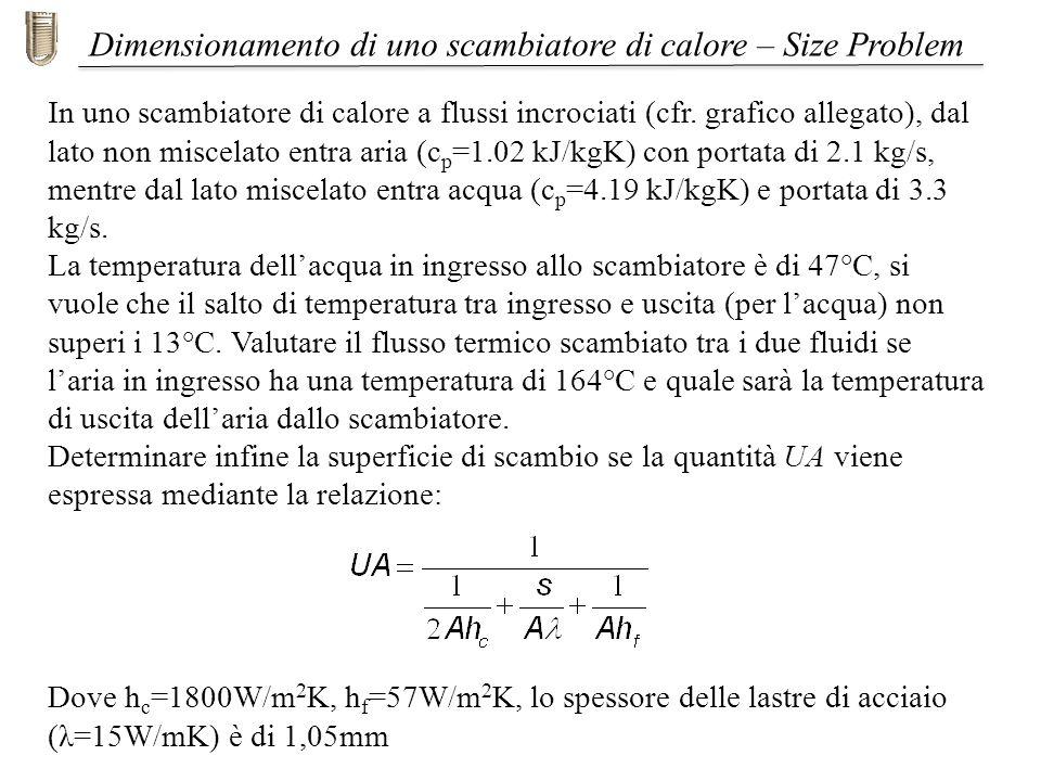 In uno scambiatore di calore a flussi incrociati (cfr. grafico allegato), dal lato non miscelato entra aria (c p =1.02 kJ/kgK) con portata di 2.1 kg/s