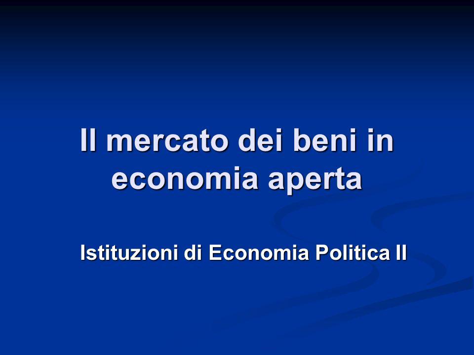 Il mercato dei beni in economia aperta Istituzioni di Economia Politica II