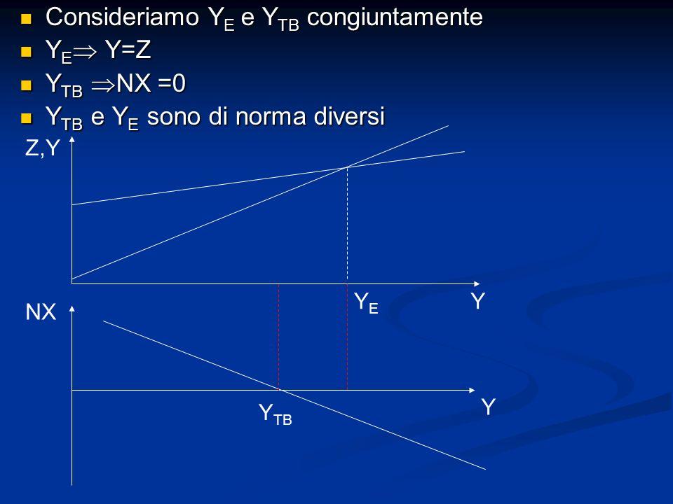 Consideriamo Y E e Y TB congiuntamente Consideriamo Y E e Y TB congiuntamente Y E Y=Z Y E Y=Z Y TB NX =0 Y TB NX =0 Y TB e Y E sono di norma diversi Y
